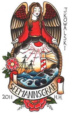 Seemanns Grab by Joe Kowalski Angel Sailor Tattoo Canvas Art Print