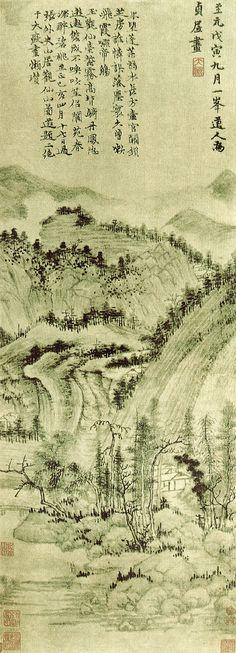 元代 - 黃公望 - 秋山幽寂                      軸‧絹本‧水墨,74.9 x 27.5cm。現藏于上海博物館。                                 黃公望 (Huang Gong Wang, 1269 -1354),字子久,號大痴道人,又號一峰。他從小聰敏,通曉經史,擅長詩文、音律和山水。他居住在富春江一帶,總能領略江山的美麗與壯闊。他畫的山水以北苑為宗,但能內化出自己的風格。畫中山水、林木丘壑層層相連,技法精妙成熟,有許多巨幅著作長卷大軸,如《富春山居圖》、《天池石壁圖》、《九珠峰翠圖》等。  黃公望創始了「淺降山水」,又叫「赭墨山水」,就是先以水墨鉤勒皴染為基礎,加上以赭石為主色的淡彩山水畫,《芥子園畫傳》說:「黃公望皴,仿虞山石面,色善用赭石,淺淺施之,有時再以赭筆鉤出大概」,他的畫成為晚明以來山水畫的正統典型,對後世影響很大。