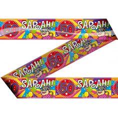 Vrolijk Sarah 50 jaar markeerlint 15 meter. Feestlijk markeerlint met daarop Sarah 50 jaar!