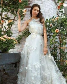 Wedding Dress with Floral Appliques   Martha Stewart Weddings