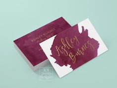 Watercolor business card template gold by 101prettydesigns on Etsy #UniqueBusinessCards