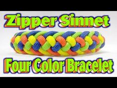 How To Make A Paracord Skittles Modified Four Strand Zipper Sinnet {4 Colors} Bracelet!! - YouTube
