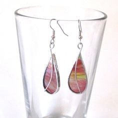 Cranberry Drops - Stained Glass Earrings - Pink Teardrop Womens Accessories Wire Jewelry Dangle Surgical Steel Hooks