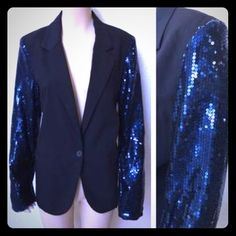 Black blazer blue sequin sleeves Black blazer royal blue sequin sleeves. Never been worn just tried on. Purchased to wear to a dinner party. Size M but I'm a L. Jackets & Coats Blazers