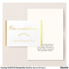 Shop Caring Gold Foil Sympathy Card created by AponxDesigns. Paper Envelopes, White Envelopes, Condolences, Colored Paper, Sympathy Cards, Gold Foil, Place Card Holders, Messages, Silver