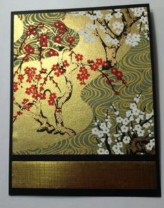 Handmade card by Rosanne Stead ... gorgeous japanese papers in old with cherry blossom print creates a quick card ...