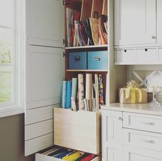 Wrapping holiday gifts with this gorgeous wrapping area will take the stress out of the holidays! Kitchen Cabinet Storage, Storage Cabinets, Wood Mode, Holiday Gifts, Bookcase, Wraps, Gift Wrapping, Shelves, Instagram Posts