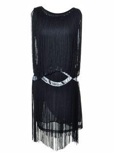 Anna-Kaci S/M Fit Black Organza Fringe Silver Trim Drop Waist Party Dress