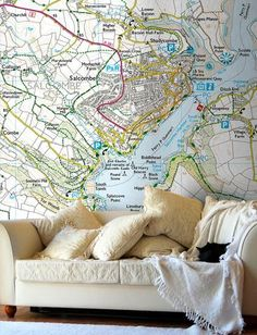 Map Wallpaper - Custom Ordnance Survey Explorer Map - Love Maps On. World Map Wallpaper, Office Wallpaper, Bedroom Wallpaper, Hallway Wallpaper, Cool World Map, Explorer Map, Os Maps, Victorian Street, Ordnance Survey Maps