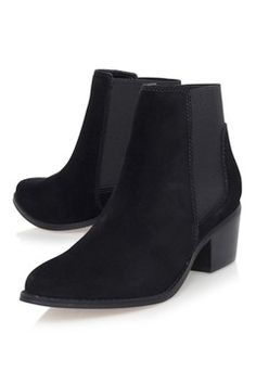 **Black Low Heel Ankle Boots by Miss KG