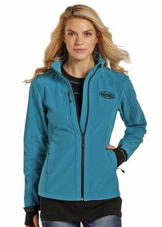 Powder River Womens' Turquoise Blue Fleece Softshell Zip Up Jacket 52-9645