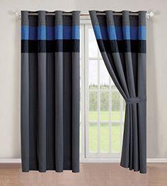 "4 - Piece Grommet Regatta Navy Blue / Grey / Black curtain set / Drapes / Window Panels 120"" Wide X 84"" Tall"