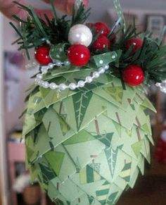 A Scrap Mom's Musings: Paper Pinecone Ornament tutorial Diy Christmas Paper Decorations, Christmas Ornaments To Make, Christmas Projects, Handmade Christmas, Holiday Crafts, Christmas Crafts, Christmas Ideas, Origami Ornaments, Pinecone Ornaments