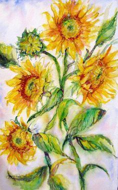 large Sunflowers Original watercolor painting by JaniceTraneJones, $119.00