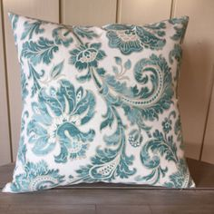 Fun and #sophisticated throw pillow to add some color to your home! The fabric is Swavelle Millcreek Boxwood. The fabric is turquoise, white, and beige. We have one 18 x 18 ... #transitional