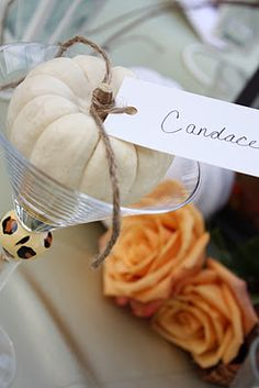 Place card ideas ~ My Heart with Pleasure Fills: Fall Bridal Shower Brunch