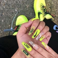 awesome acrylic coffin nails designs in summer 24 ~ thereds. Nike Nails, Aycrlic Nails, Coffin Nails, Summer Acrylic Nails, Best Acrylic Nails, Acrylic Nail Designs, Nail Swag, Gorgeous Nails, Pretty Nails