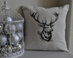 Deer Pillow Cover Alpine Chic by VixenGoods on Etsy