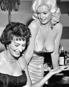 Jane Mansfield and Sophia Loren at Romanoff's, Beverly Hills. Circa 1958. . Follow @cinemaflicks for more . #janemansfield…