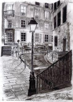 Rue de Paris Gravura em carvão