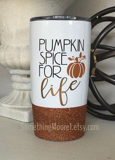 Pumpkin Spice For Life, Glitter-Dipped Travel Mug, Vacuum Insulated Stainless Steel, PSL, Pumpkin Spice Latte, Coffee Mug, Glitter