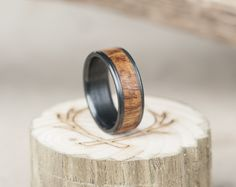 Black zirconium & ironwood wedding ring.