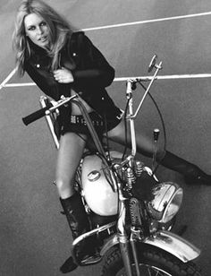 """Photography - Just JAECKIN """"Brigitte Bardot (Harley Davidson)"""" The sublime BB on a Harley Davidson, immortalized by Gainsbourg and magnified by Just Jaeckin on this great photograph. Brigitte Bardot, Bridget Bardot, Biker Chick, Biker Girl, Harley Davidson, Davidson Bike, Serge Gainsbourg, Marlene Dietrich, Catherine Deneuve"""