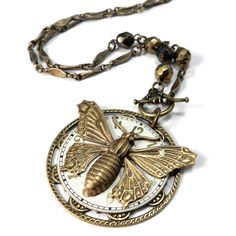 Clockwork Necklace - Metallic Watch Dial - Gold Butterfly - 20-40% off vintage Vintage, Victorian Steampunk Jewelry. Handmade in California by Compass Rose Design Jewelry #blackfriday #sale #cybermonday