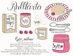 Swiss Roll Illustrated Recipe by Tovelisa Learn Swedish, Illustrated Recipe, Cocktail Desserts, Swedish Recipes, Fika, How To Make Bread, Food Illustrations, No Bake Desserts, Let Them Eat Cake