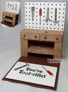 "masculine ""Workbench"" pop-up card with tools by Irene Rhodes"