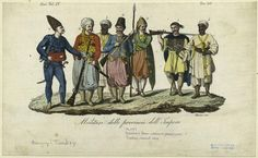 African males were used in a number of functions in the Ottoman Empire, as domestics, in agriculture and industry, and in the military. Two African soldiers appear in this print, which shows military personnel from various provinces.: