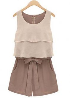 Summer Essential Round Neck Color Blocking Rompers for Lady