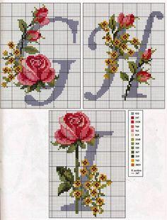 rosas en punto cruz - Buscar con Google