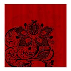 Red and Black Lace Shower Curtain    Beautiful, elegant lacy design in fantastic colors  $45.99