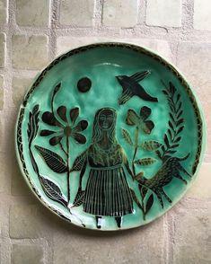 Hand built Sgraffito plate by Maheswari Janarthanan