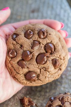 Soft and Chewy Nutella Chocolate Chip Cookies - Pillowy SOFT thanks to the NUTELLA and loaded with chocolate in every bite!! EASY cookies you have to make!!