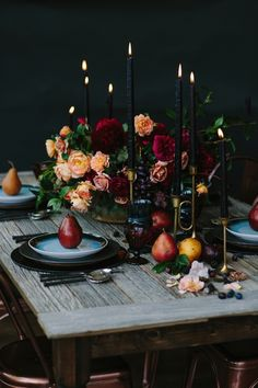 dark rich luxurious wedding table decor with candles and pears Moody Wedding Colour Scheme Moody Wedding Decor Dark Colours Black Purple Moody Wedding Ceremony Moody Wedding Reception Moody Wedding Ideas Moody Wedding Inspiration Table Decoration Wedding, Wedding Centerpieces, Table Decorations, Centerpiece Ideas, Floral Centerpieces, Candle Centerpieces, Christmas Centerpieces, Table Setting Wedding, Autumn Wedding Decorations