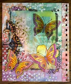 'Just Butterflies' stamp set coloured with pitt pens - from Misty's Mess