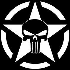 Military Star Jeep Punisher Skull Decal Vinyl Sticker Wrangler Rubicon XJ Army   eBay