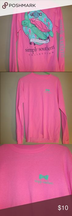 Pink Turtle Simply Southern Long Sleeve Shirt!! This is a super cute long sleeve simply southern shirt. It was only worn when I tried it on other than that it has never been put on! Simply Southern Tops Tees - Long Sleeve