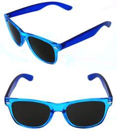 bb4c16e435 Men s Women s clear Blue Frame Sunglasses Horn square Rimmed Black Lenses  80 s