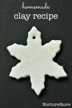 homemade white clay recipe and beautiful snowflake mobile craft - great winter craft for kids or for a homemade Christmas decoration