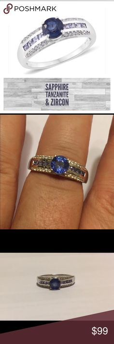 Sapphire, Tanzanite & Zircon Sterling Ring This is for a blue sapphire, Tanzanite and Cambodian Zircon ring. The setting is platinum over solid .925 Sterling silver. Size 10 only! 1.88 total carat weight. 100% gemstones and metals! Jewelry Rings
