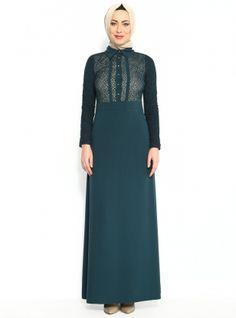 Üstü Fileli Elbise - Yeşil - Ceylin Butik :: Zinde Market