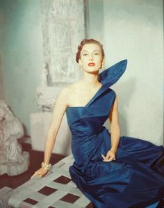 Mary Jane Russell wearing Blue Taffeta Gown, 1950