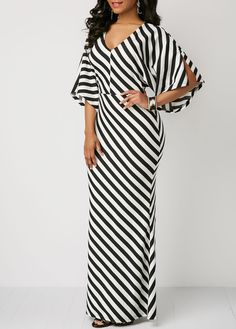 Striped V Neck Slit Sleeve Maxi Dress African Attire, African Dress, Latest African Fashion Dresses, Maxi Dress With Sleeves, Classy Dress, Fashion Outfits, Womens Fashion, Fashion Advice, Casual Dresses