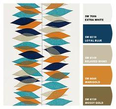 Sanderson Miro Wallpaper, 210229,Teal/Orange