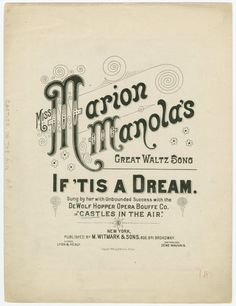 One of hundreds of thousands of free digital items from The New York Public Library. Library Services, Vintage Sheet Music, Vintage Type, Music Covers, New York Public Library, Cover Design, Lettering, Castles, Fonts
