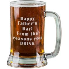 16 Oz Personalised Pint Beer Glasses Etched Mug Engraved with Happy Father's Day! From the reasons you DRINK Funny Beer Glasses for Dad Gift