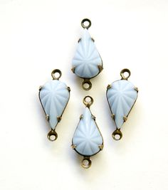 Sooo pretty and inspiring. Reminds me of birds eggs in the spring!  Vintage Etched Light Blue Glass Teardrop Stone 2 Loop Brass Ox Setting par016AE2